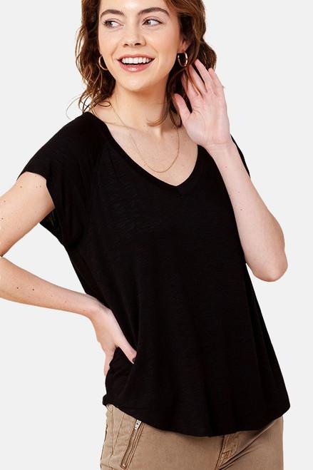 Black V-Neck rayon raglan short sleeve round hem tee