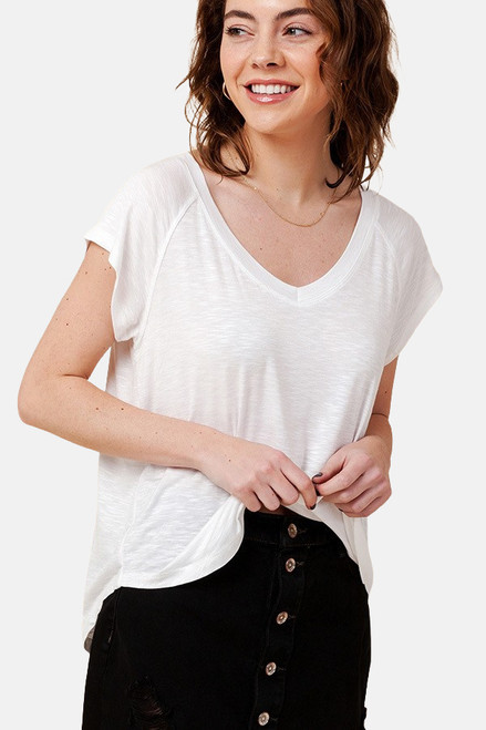 Off White V-Neck rayon raglan short sleeve round hem tee