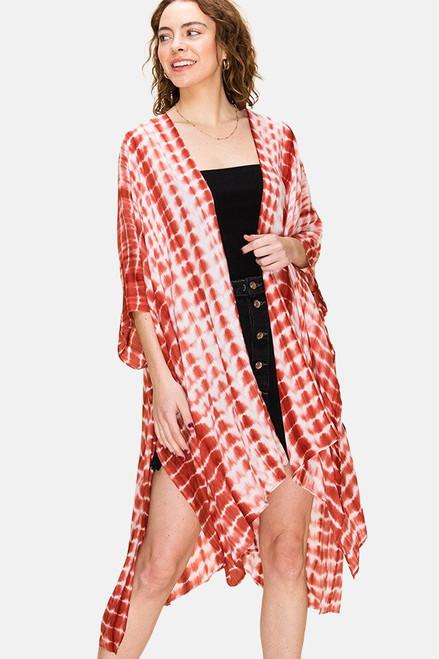 Rust & white tie-dye Kimono