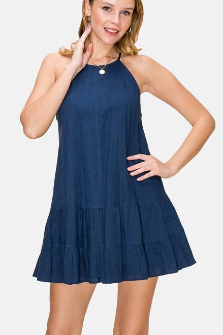 Navy Blue Ruffle Halter Dress