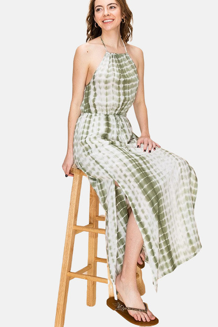 Olive Green tie dye woven halter maxi dress with waist tie.