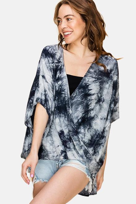 Black & white tie-dye crossover blouse
