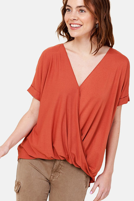 Terracotta Surplice front top with rolled sleeve.