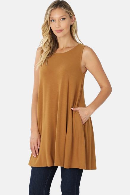 "Coffee 33"" sleeveless tunic with pockets."