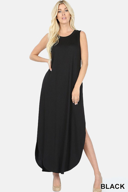 Sleeveless viscose round neck dress with side slits & pockets