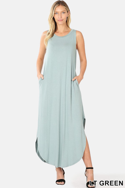 Shop The Tanya sleeveless viscose round neck dress with side slits & pockets in light green