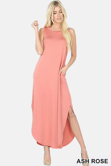 Shop The Tanya sleeveless viscose round neck dress with side slits & pockets in ash rose