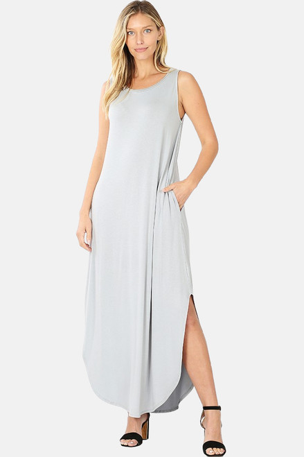 Shop The Tanya sleeveless viscose round neck dress with side slits & pockets in gray mist