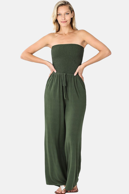 Army green smocked tube top jumpsuit with pockets and elastic waistband.