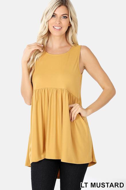 Light mustard brushed ditty sleeveless empire waist shirring top.