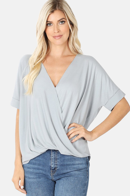 Light Gray Rayon Crepe Draped Front Top