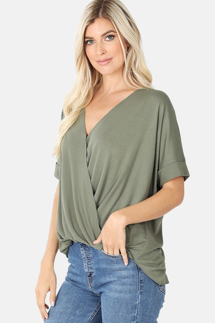 Light Olive Rayon Crepe Draped Front Top