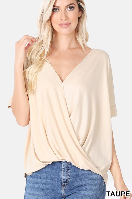 Taupe Rayon Crepe Draped Front Top