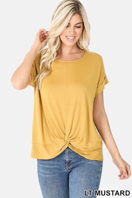Mustard Rayon Crepe top with fun knot front detail.