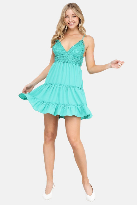 Mid thigh length agua dress with a crochet bust and spaghetti straps
