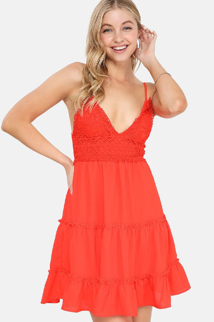 Mid thigh length red dress with a crochet bust and spaghetti straps