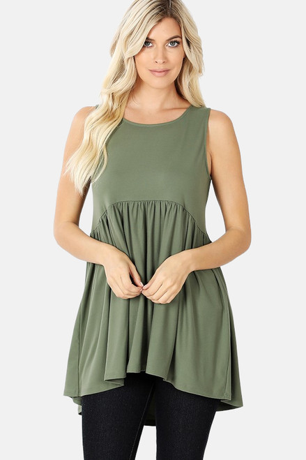 Light olive brushed ditty sleeveless empire waist shirring top.