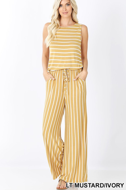 Yellow and white striped sleeveless jumpsuit with pockets and back tie detail and elastic waistband.