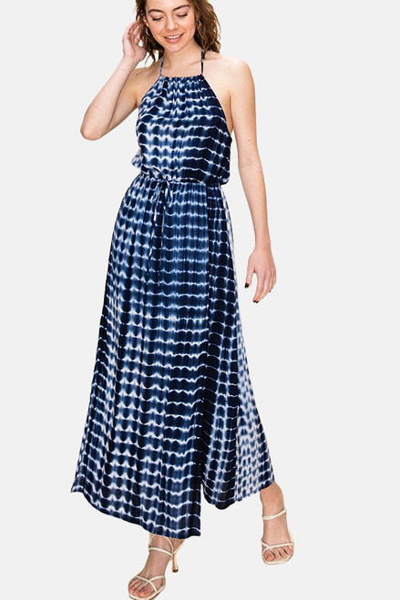 Navy tie dye woven halter maxi dress with waist tie.