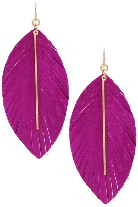 Fuchsia genuine leather feather earrings with worn gold metal bar.