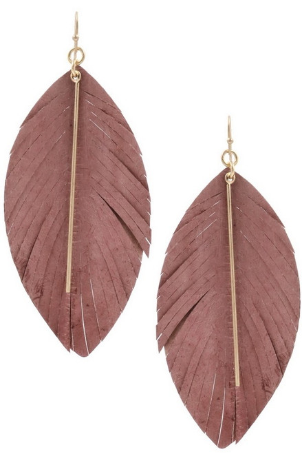Pink genuine leather feather earrings with worn gold metal bar.