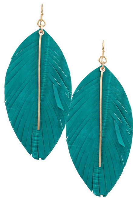 Teal genuine leather feather earrings with worn gold metal bar.