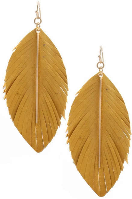 Mustard yellow genuine leather feather earrings with worn gold metal bar.