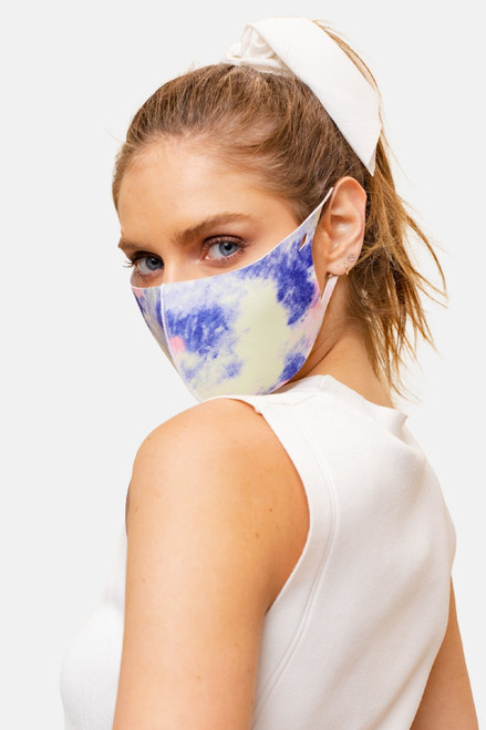 Bold Tie-Dye face mask made of anti-bacterial and odor-preventing fabric.