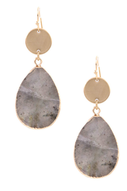 Gray semi precious stone teardrop earrings on fish hook wire
