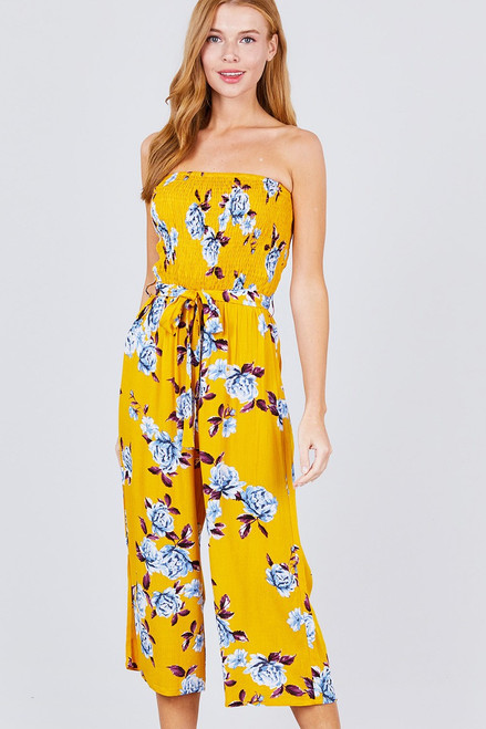 Smocked tube rayon cropped jumpsuit in a fun yellow woven floral print.