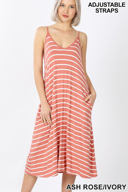 Ash rose v-neck midi tank dress with adjustable straps.