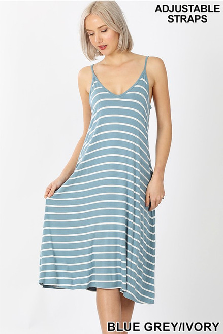 Blue-Gray & Ivory stripe v-neck midi tank dress with adjustable straps.