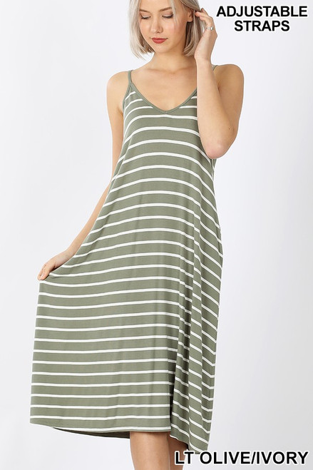 Light Olive V-neck Midi Tank Dress