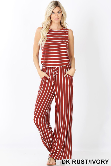 Dark rust and ivory striped sleeveless jumpsuit with pockets and back tie detail and elastic waistband.