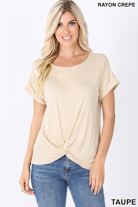 Taupe Rayon Crepe top with fun knot front detail.