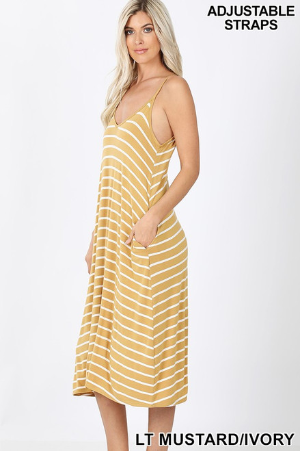 Light Mustard V-neck Midi Tank Dress