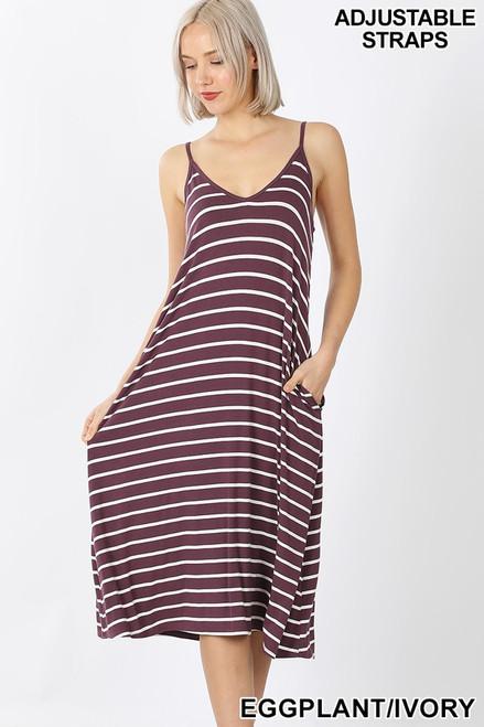 Eggplant V-neck Midi Tank Dress