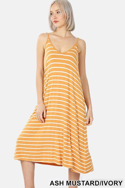 Mustard V-neck Midi Tank Dress