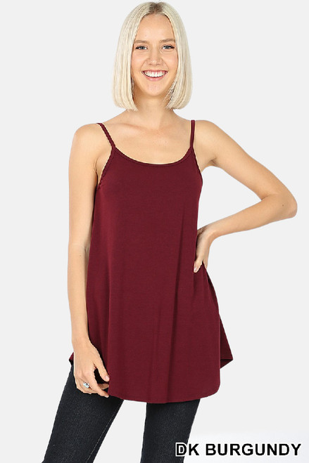 Dark Burgundy reversible swing tank with adjustable spaghetti  straps.