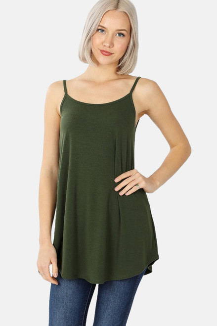 Army Green reversible swing tank with adjustable spaghetti straps.
