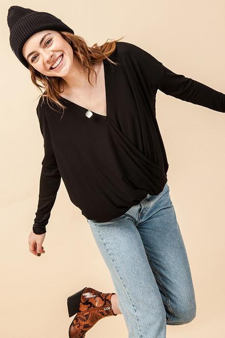 Kelly's Favorite Surplice V-Neck Long Sleeve Top in Black