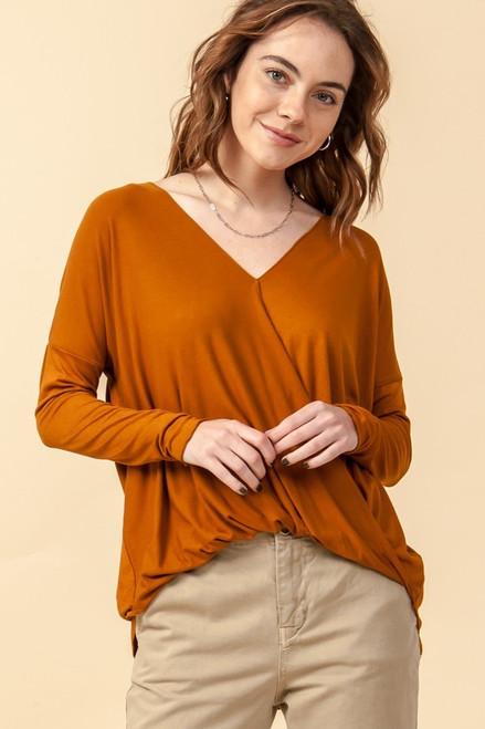 Kelly's Favorite Surplice V-Neck Long Sleeve Top in Cinnamon