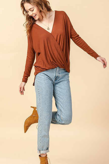 Kelly's Favorite Surplice V-Neck Long Sleeve Top in Hazelnut
