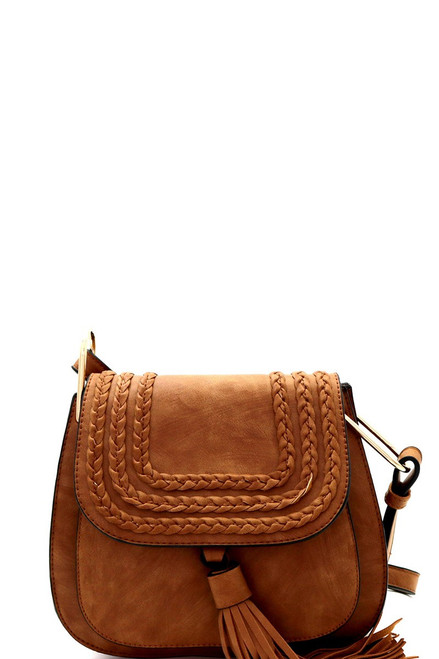 Tassel Accent Braided Cross Body Saddle Bag in Brown