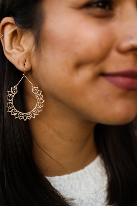 Mandala Earrings in Gold
