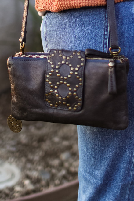 Celine Metal Studded Genuine Leather Clutch Bag by Kompanero