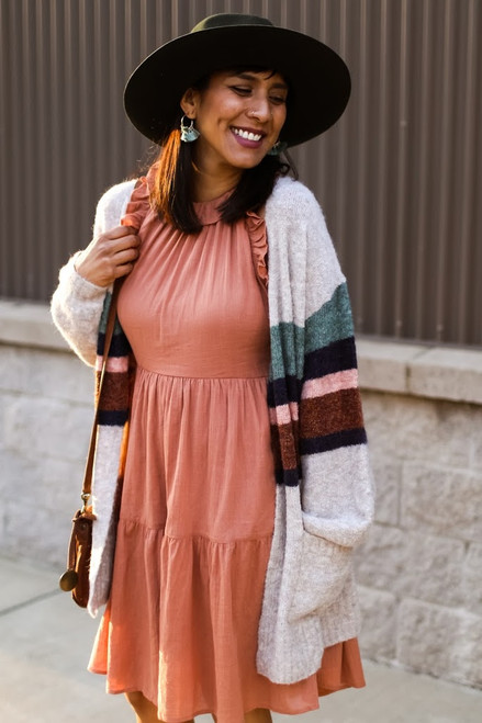 Oatmeal Striped Color Block Cardigan