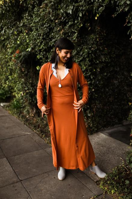 The Eva Lee Rust Long Knit Cardigan