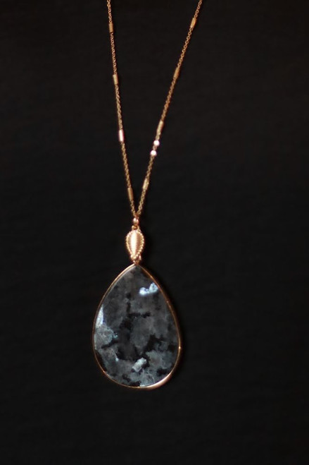 The Alice Ira Natural Stone Teardrop Necklace