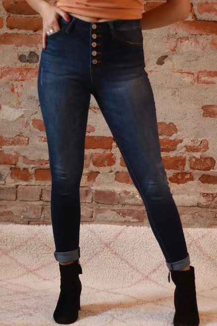 The Avery Jayne Kancan High Waisted Skinny Jeans front view.